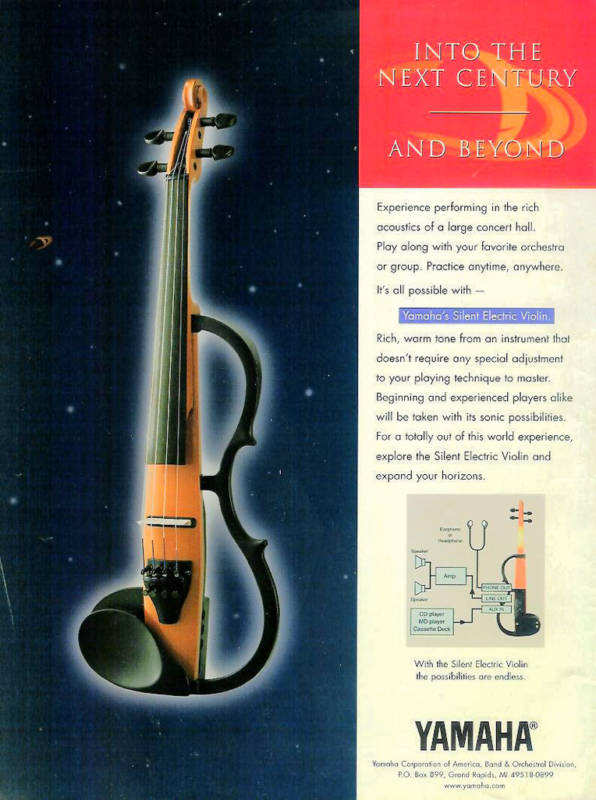 "Scan of Yamaha advert for the then new ""Silent"" Electric Violin c.1999"