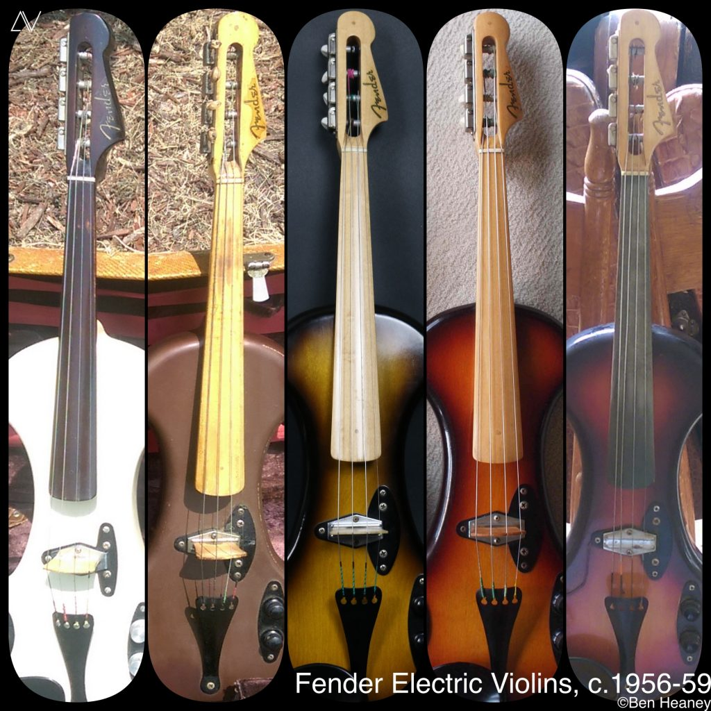 Collage image showing five known 1950s Fender Electric VIolins