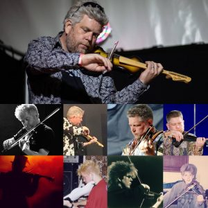 collage of photos of author playing electric violin since 1985